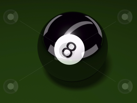 Eight Ball stock photo, 3D eight ball on felt background by John Teeter