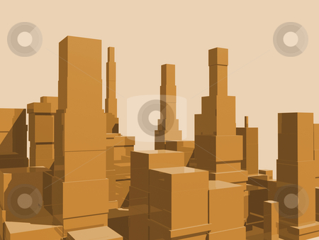 City Abstract stock photo, 3D abstract city in orange with reflection. by John Teeter
