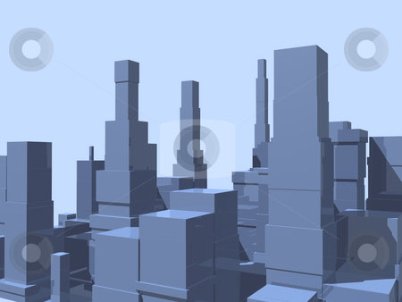 City Abstract stock photo, 3D abstract city in blue with reflection. by John Teeter