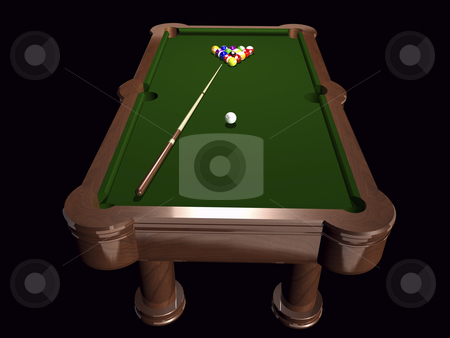Billiards table stock photo, 3D pool table on black background by John Teeter