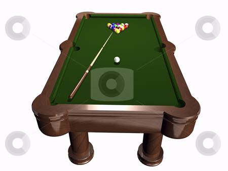 Pool table stock photo, 3D pool table on white background by John Teeter