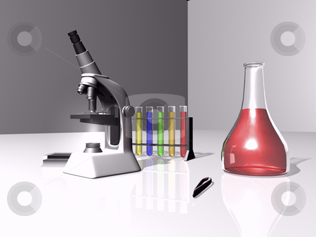 Laboratory scene stock photo, 3D laboratory scene with microscope and test tubes by John Teeter