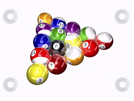 Balls Billiard stock photo, Pool balls on white background 3D illustration by John Teeter