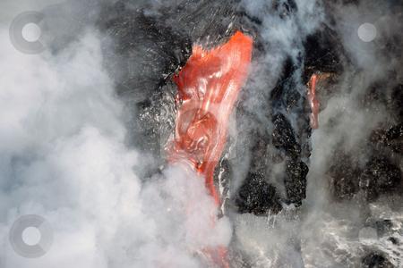 Molten lava and steam stock photo, Molten lava and steam by Mpixis World