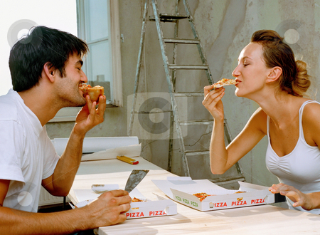 MPIXIS574042 stock photo, Couple eating pizza by Mpixis World