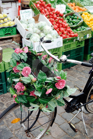 MPIXIS250383 stock photo, Bicycle near market stall by Mpixis World