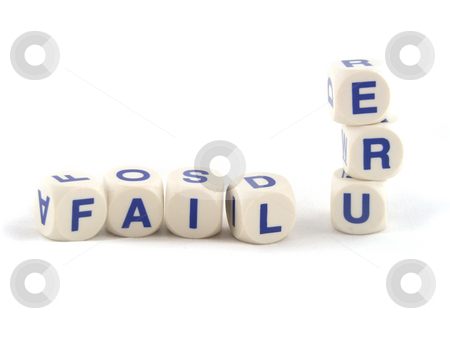 Failure in spelling blocks stock photo, Failure in Spelling Blocks Isolated on a White Background by Adrian Mace