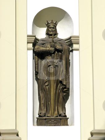 Knyaz Volodymyr stock photo, Fragment of facade, Greco-catholic cathedral, Ivano-Frankivsk city, Ukraine by Roman Vintonyak