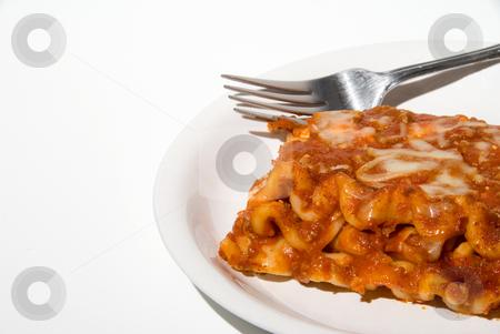 Lasagna stock photo, A big slice of delicious homemade Italian style lasagna. by Robert Byron