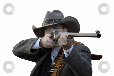 Deputy with Rifle stock photo, Western style deputy sheriff takes aim with rifle.  Isolated with clipping path. by A Cotton Photo