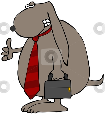 Business Dog stock photo, This illustration depicts a dog wearing a necktie and carrying a briefcase. by Dennis Cox