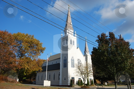 White Church stock photo, Church on a fall day by Bill Parmentier