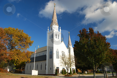White Church stock photo, White Church on a fall Day by Bill Parmentier