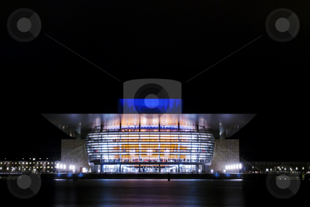 Copenhagen opera house stock photo, Title: Copenhagen operahouse by night Description: The new Copenhagen operahouse by night. The operahouse is located in the Harbour area in Copenhagen, just opposite the royal residence. by Flemming Jacobsen