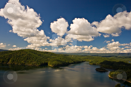 Clouds over the Lake stock photo, A view from the overlook at Raystown Lake in Huntingdon, PA. by Eric Gaston