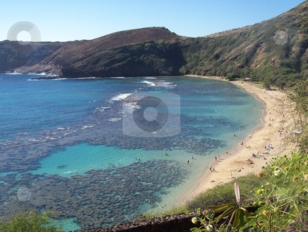 Hanauma Bay, Oahu stock photo, Hanauma Bay:  Beach and coral reef that formed inside of an extinct volcano by Peter Rolfe
