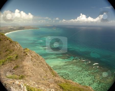 Waimanalo Bay, Oahu stock photo, Waimanalo Bay, Oahu, from Kamehame Ridge. by Peter Rolfe