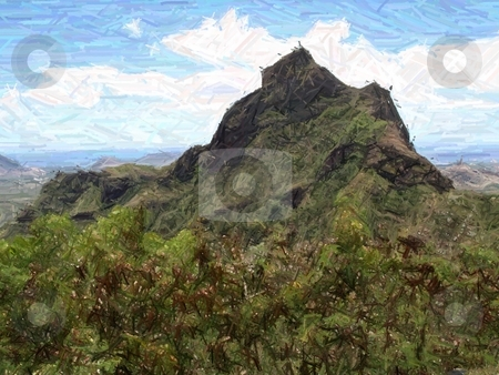 Olomana, Oahu__color pencil filter stock photo, Olamana, Oahu, from Pali Lookout (color pencil filter) by Peter Rolfe