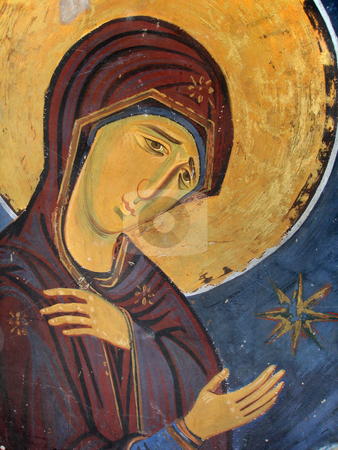 Virgin Mary Icon stock photo, Medieval Virgin Mary Icon Painted on Church Wall by Denis Radovanovic