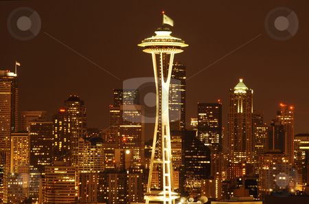 Seattle Downtown skyline stock photo, A night-shot of the beautifully illuminated Seattle downtown by Nilanjan Bhattacharya