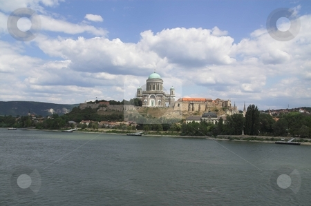 Basilica in Esztergom, Hungary stock photo, Panoramic view of the basilica in Esztergom, Hunary, viewed from the Maria-Valeria-bridge, which is the border crossing point between Slovakia and Hungary by Szilard Kun