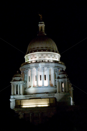 Rhode Island State House stock photo, Night view of Rhode Island Statehouse by Bill Parmentier
