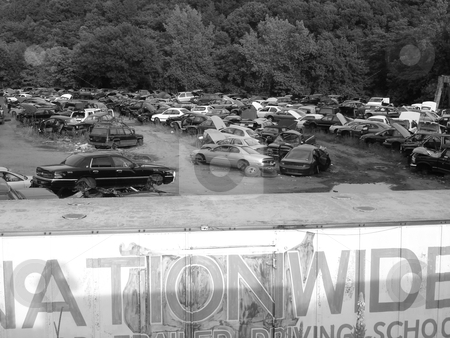 Auto junkyard stock photo, Black and White photo of a junkyard by Bill Parmentier