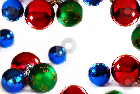 New Year balls stock photo, Various new year ball frame isolated over white by Julija Sapic