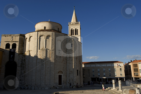 Church of St. Donat, Zadar stock photo, The Church of St. Donat in the center of the historical city Zadaron the vest coast of Croatia.  St. Donat is the most monumental Croatian building from the early Middle Ages. It is the most well-known monument of Zadar and indeed a symbol of the city. It was constructed on the intiative of the bishop of Zadar, Donat, who between the years 801 and 814 played an important role, visiting both of the reigning European courts, the Frankish and the Bizantine. The church is mentioned for the first time in the middle of the 10th century in the documents of the Bizantine emperor Constantine Porfirogenet. Today its interior and the area connected to the Forum are used for various cultural-theatrical and musical programs, especially during the summer months of the tourist season. by Flemming Jacobsen
