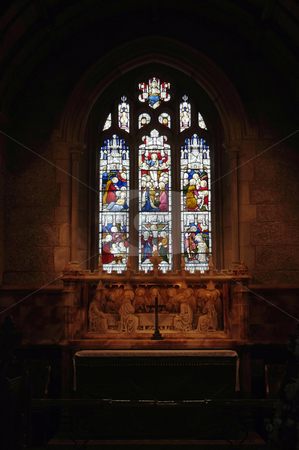 Faith stock photo, Stained glass window in an Englihs church by Paul Phillips