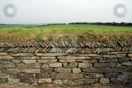 Dry-stone stock photo, Dry-stone wall in farmland with grass growing on top by Paul Phillips