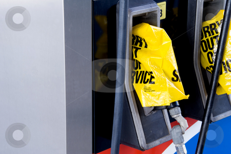 Gas station pumps stock photo, A gas station has run out of gasoline. by Robert Byron