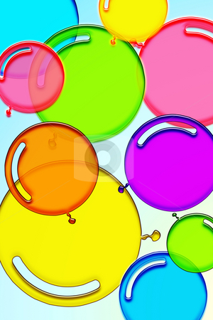 Colorful balloons stock photo, Transparent balloons dancing in sky by Wino Evertz