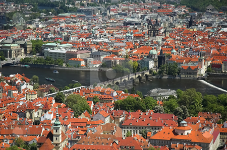 Aerial view of Charles Bridge stock photo, Prague and Charles Bridge viewed from Petrin Tower by Pierre Landry