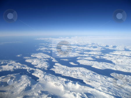 Greenland stock photo, Aerial shot of the west coast of greenland by Pierre Landry