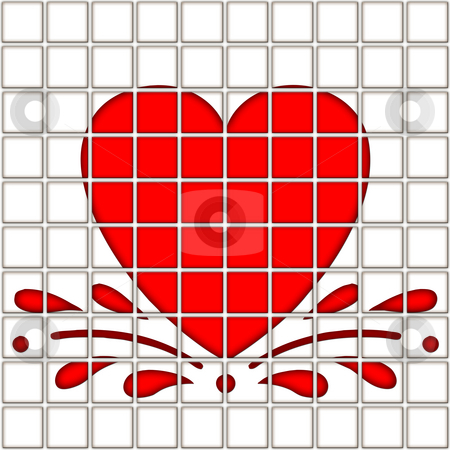 Heart in tile pattern stock photo, Splashing red heart on 10 by 10 tiles by Wino Evertz