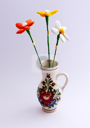 CandyFlower stock photo, Flowers made of candy in a hand painted vase. by Gyozo Toth