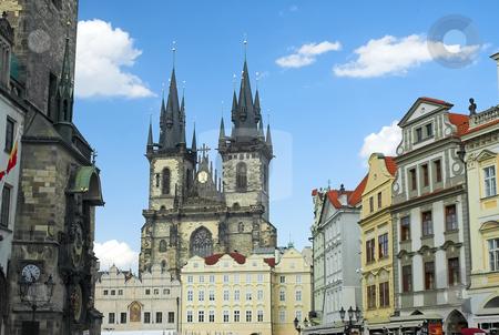 Prague old town square stock photo, Prague old town square with Church or Our Lady before Tyn by Pierre Landry