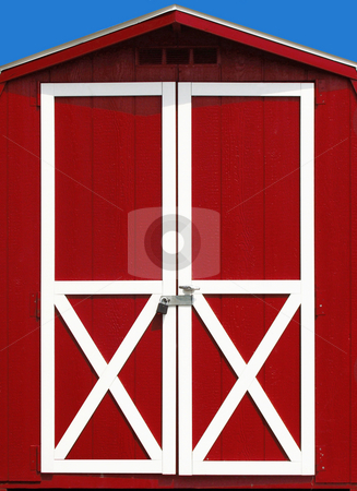 Red Barn Door stock photo, Red Barn at a beautiful blue sky day by Maria Alessandra Nusiner