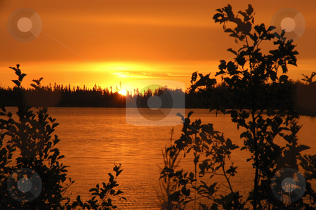 Orange Sunrise stock photo, Orange sunrisereflecting in small lake by Pierre Landry