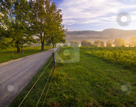 Morning on Sparks Lane stock photo, An August shot taken on one of the rare cool mornings in Cades Cove in mid-August. A truly beautiful morning. by Greg Hutson