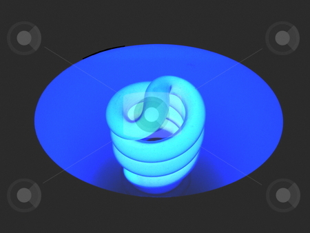 Bluelight stock photo, Blue fluorescent light bulb with black background. by Todd Dixon