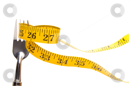 Tailor's Tape on a Fork stock photo, A tailor's measuring tape on a dinner fork. by Robert Byron