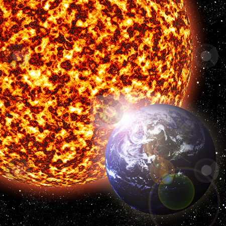 Earth and Sun stock photo, Earth revolving around the sun - 3D illustration by Tyler Olson