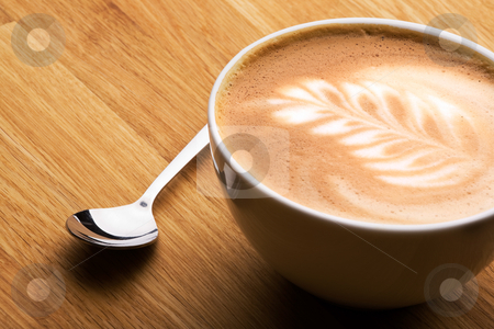 Kaffe Latte stock photo, A cafe latte in a bowl with latte art by Tyler Olson