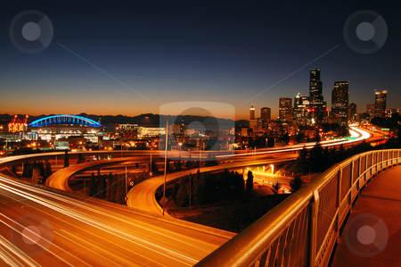 Seattle Freeways stock photo, A night shot of freeways and Seattle downtown at the background by Nilanjan Bhattacharya