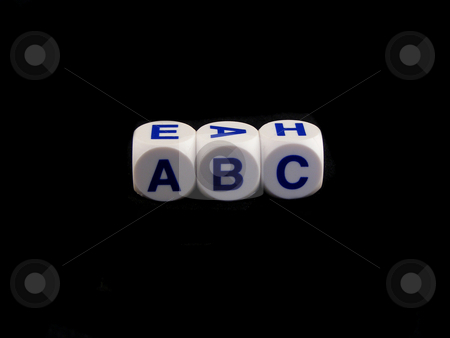 ABC dice stock photo, ABC spelled on a black background by Adrian Mace