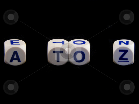 A to Z dice stock photo, A to Z isolated on a black background by Adrian Mace