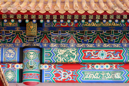 Forbidden city in Beijing stock photo, Forbidden city painted wall detail (Beijing - China) - Unesco World Heritage Site by Gautier Willaume
