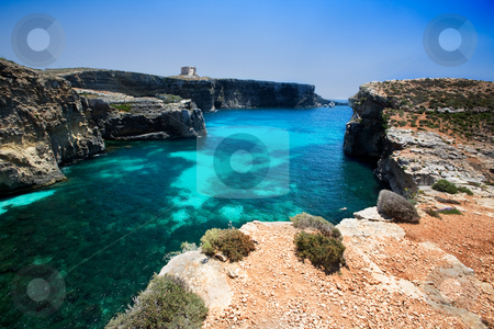 Comino Island stock photo, Marija tower on Comino Island, malta by Tyler Olson